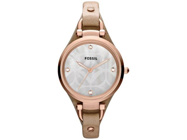 Fossil Georgia Silver Dial Rose Gold-tone Stainless Steel Ladies Watch ES3151