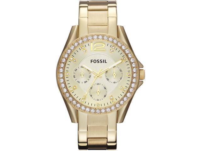 Fossil Riley Multi-Function Champagne Dial Gold-tone Ladies Watch ES3203