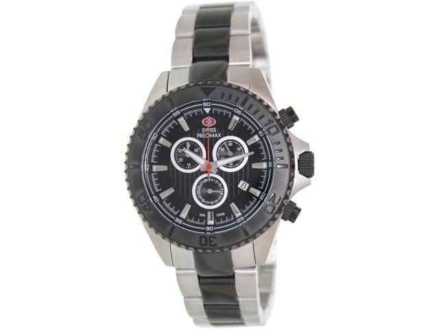 Swiss Precimax SP12197 Men's Maritime Pro Two-Tone Stainless-Steel Swiss Chronograph Watch with Black Dial