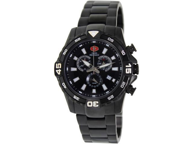 Swiss Precimax SP13107 Falcon Pro Men's Black Dial Stainless Steel Chronograph Watch