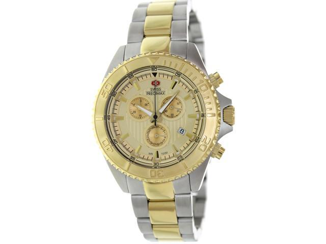 Swiss Precimax SP12196 Men's Maritime Pro Two-Tone Stainless-Steel Swiss Chronograph Watch with Gold Dial