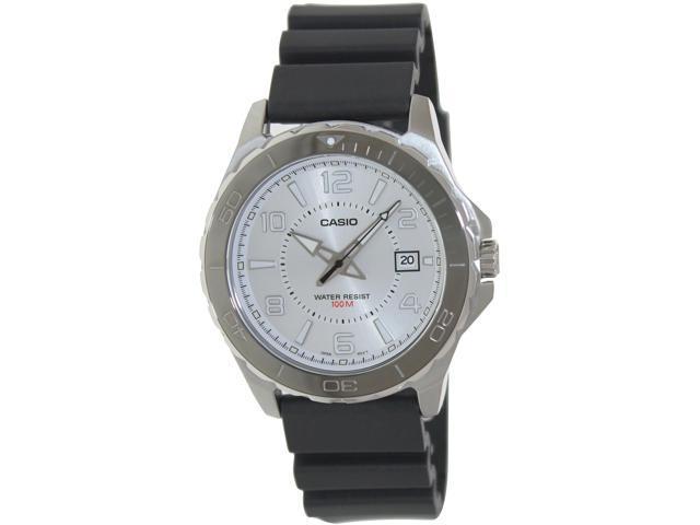 Casio Men's MTD1074-7AV Black Plastic Quartz Watch with Silver Dial