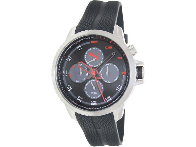 Puma Men's PU103271003 Black Rubber Analog Quartz Watch with Black Dial