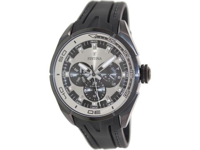 Festina Men's F16610/1 Black Rubber Quartz Watch with Silver Dial