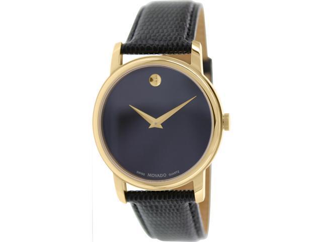 Movado 2100005 Museum Black Dial Black Leather Band Men's Quartz Analog Watch