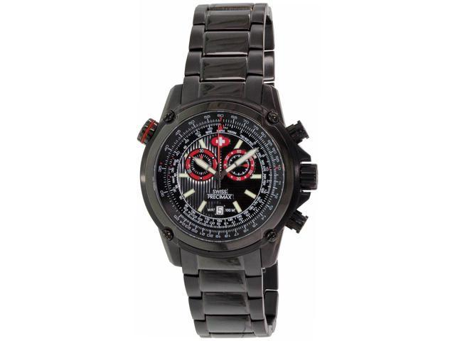 Swiss Precimax Men's Squadron Pro SP13074 Black Stainless Steel Chronograph Watch with Black Dial