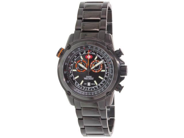 Swiss Precimax SP13075 Men's Squadron Pro Black Stainless Steel Chronograph Watch with Black Dial