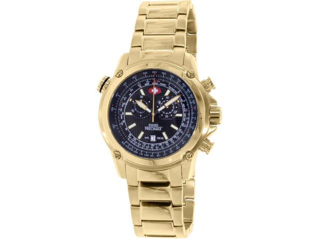 Swiss Precimax SP13077 Men's Squadron Pro Gold Stainless-Steel Swiss Chronograph Watch with Black Dial