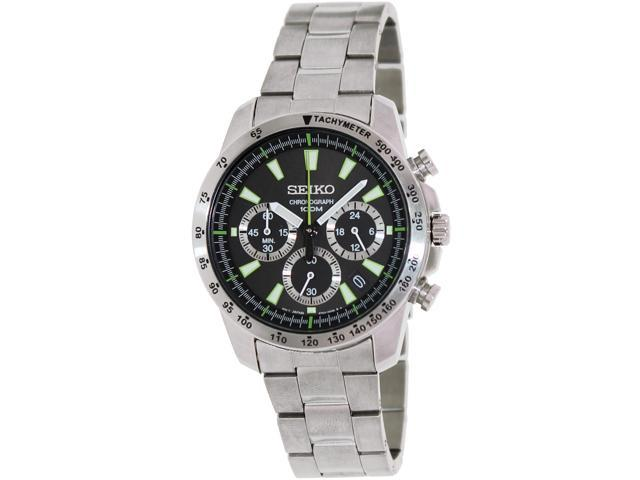 Seiko Chronograph Black Dial Stainless Steel Mens Watch SSB027