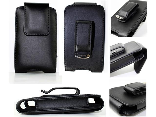 Black Leather Holster Case Cover with Belt Clip for Blackberry Bold 9000, Curve 8900, Storm, 8800, Pearl 8100, Tour 9630 Niagara, LG Dare VX9700, iPod Touch, Classic, iPhone 3g, Treo Pro