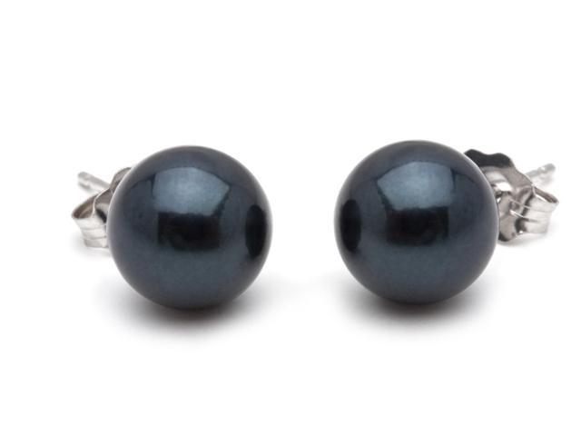 Black Akoya Saltwater Pearl Earrings 8mm AA+ Quality