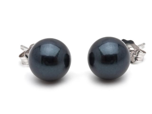 Black Akoya Saltwater Pearl Earrings 7.5mm AA+ Quality