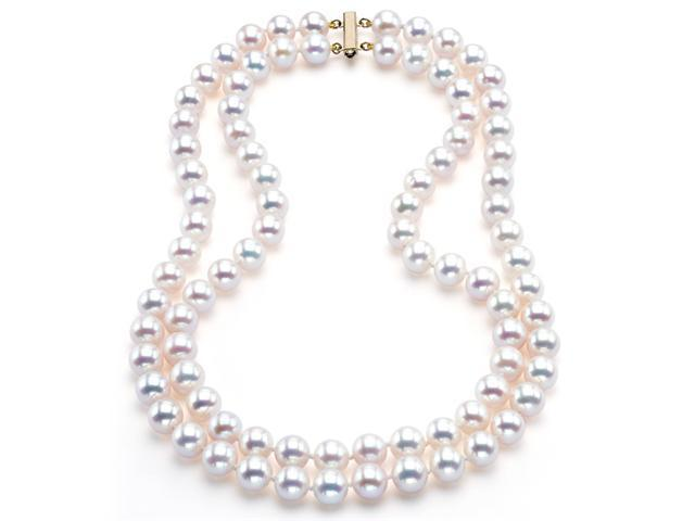 Japanese Akoya Saltwater Pearl Necklace Two-Strand 7mm AAA Quality 16 inch