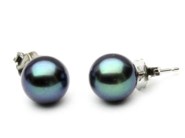 The Pearl Outlet Freshwater Black Pearl Earrings 8mm AA+ Quality