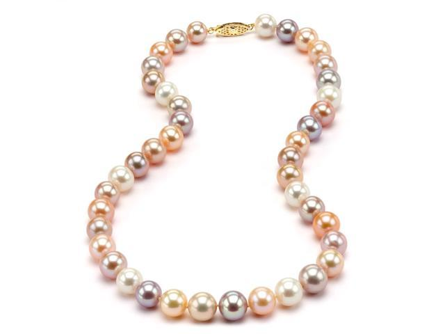 "Freshwater Multicolor Pearl Necklace - 8-9mm AA+ Quality 18"" 14k Gold Clasp"