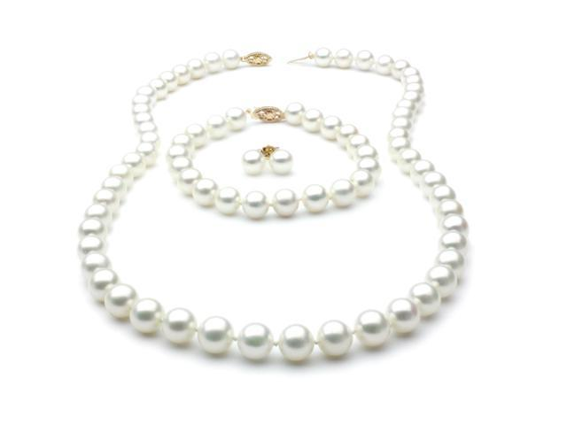 Freshwater Pearl Set - Necklace Bracelet and Earrings 7.5mm AA+ 14k Gold Clasp