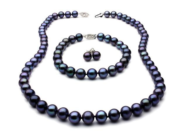 Black Freshwater Pearl Set - Necklace Bracelet and Earrings 7.5mm AA+ 14k Gold Clasp
