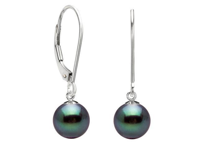 Freshwater Leverback Dangle Black Pearl Earrings 8mm AAA Quality