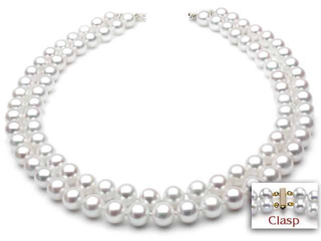 Freshwater Pearl Necklace - Two-Strand 7-8mm AA+ Quality 18""