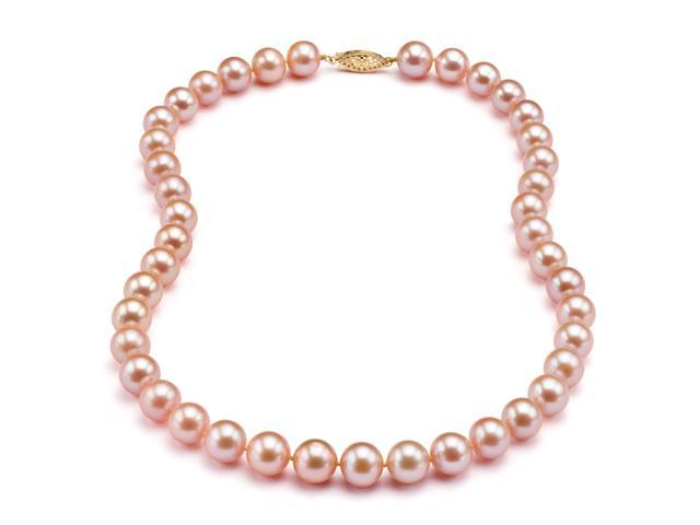 Freshwater Pink-Peach Pearl Necklace - 8-9mm AA+ Quality 16