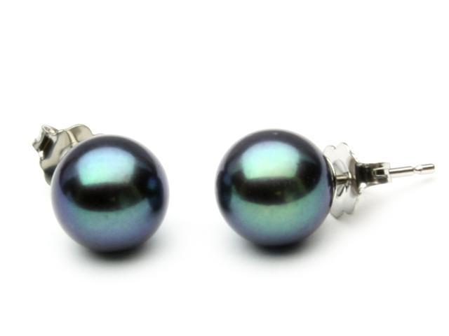 The Pearl Outlet Freshwater Black Pearl Earrings 8mm AAA Quality 14k White Gold Studs