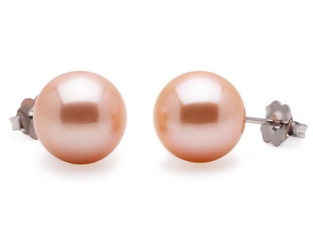 Freshwater Pink-Peach Pearl Earrings 9mm AAA Quality