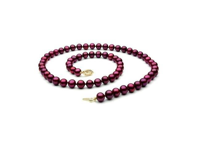 "The Pearl Outlet FNCR8AAP-YG 14K 18"" AAA Cranberry Red Freshwater Pearl Necklace"