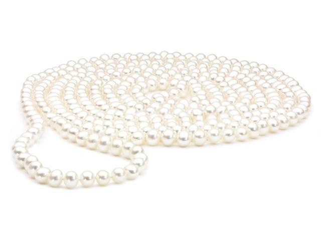 The Pearl Outlet White Pearl Rope Necklace - 100