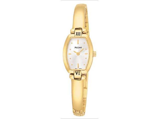 Pulsar PEGA68 Women's White Dial Gold Tone Bangle Bracelet Watch
