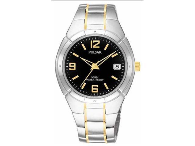 Pulsar PXH172 Men's Quartz Two Tone Black Dial Stainless Steel Watch