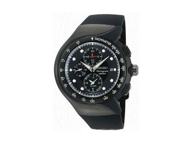 Seiko SNAD63 Men's Streamline Chronograph Black Ion Plated Alarm Watch