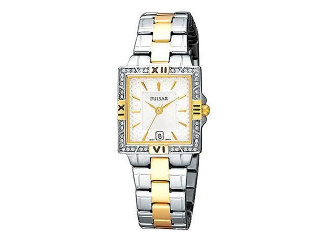 Pulsar PXT696 Women's Swarovski Crystals Two Tone Stainless Steel Watch