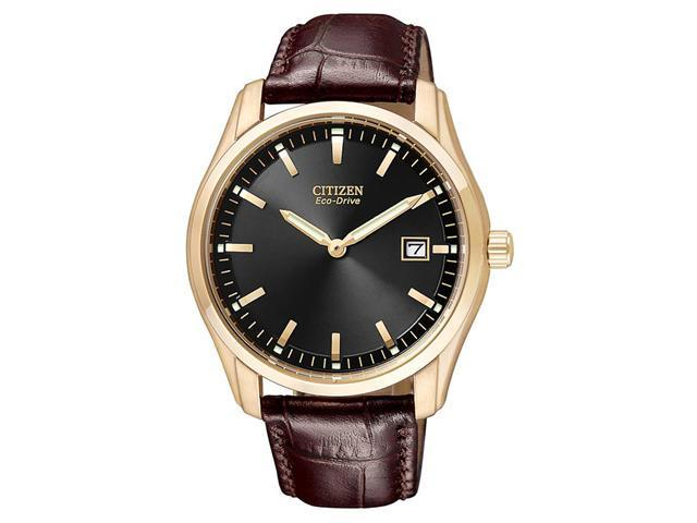 Citizen Eco-Drive Leather Strap Black Dial Men's watch #AU1043-00E