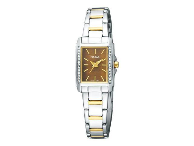 Pulsar Crystal Collection Genuine Tiger Eye Dial Women's Watch #PC3249