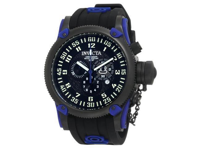 Invicta 10180 Men's Russian Diver Blue Accents Black Dial Silicon Rubber Strap C