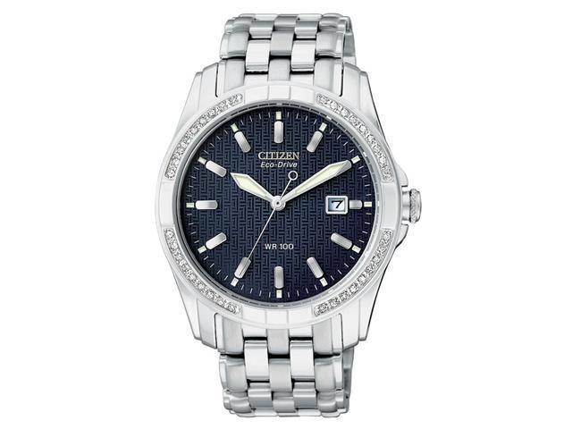 Citizen BM6810-59L Men's Eco Drive Diamond Black Dial Date Watch