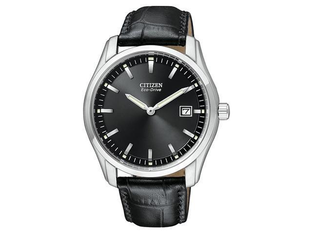 Citizen Eco Drive Black Dial Black Leather Mens Watch AU1040-08E