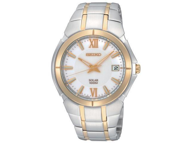 Seiko Solar Date Window White Dial Men's watch #SNE088