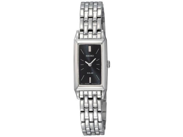 Seiko Solar Polished Bracelet Black Dial Women's watch #SUP043