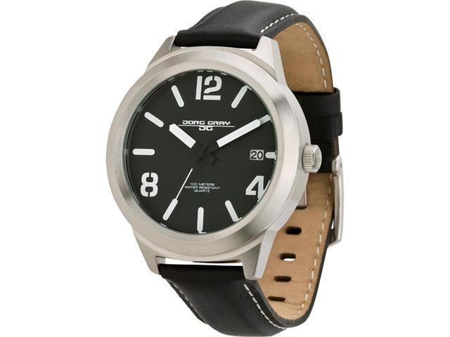 Jorg Gray Leather Black Dial Men's watch #JG1950-11