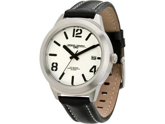 Jorg Gray Leather White Dial Men's watch #JG1950-13