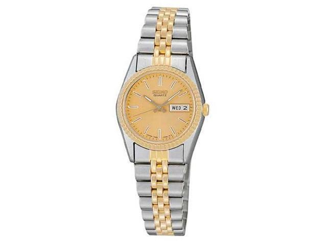 Seiko SWZ056 Women's Gold Tone Dial Stainless Steel Watch
