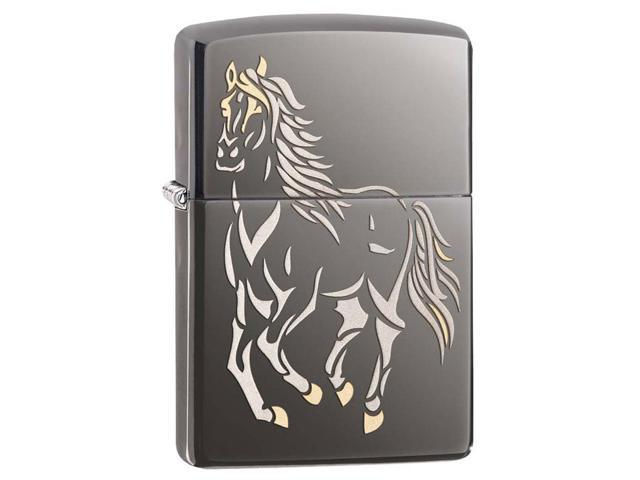 Zippo 28645 Classic Black Ice Running Horse Windproof Pocket Lighter