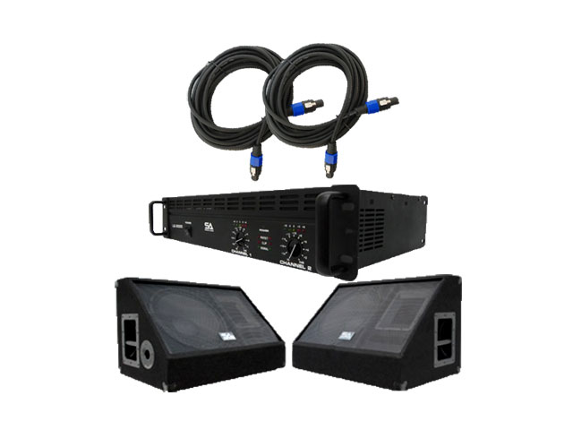 Seismic Audio - SA-15MXPKG1 - Pair of 15 Inch Floor or Stage Monitors, Amplifier, and Cables (Add On) - PA, DJ, Karaoke, Live Band use