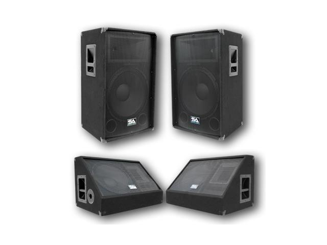 "Seismic Audio - Pair of 15"" PA/DJ Speakers, 15"" Floor Monitors"