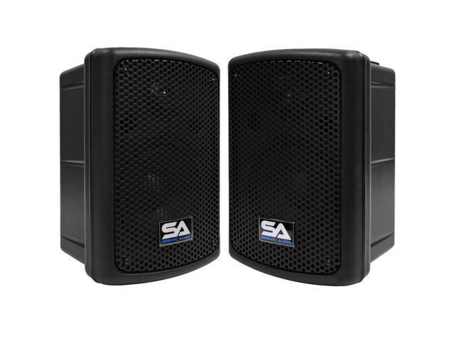 Seismic Audio - Pair of Powered 8 Inch PA DJ  Molded Active Speaker Cabinets