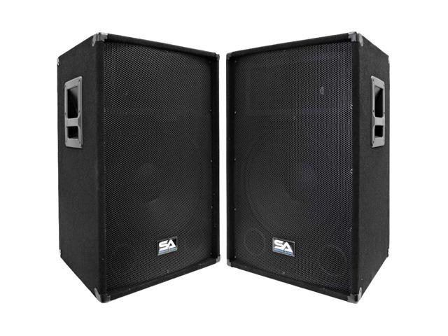 "Seismic Audio - SA-15T-PW-Pair - Pair of Powered 2-Way 15"" PA / DJ Speaker Cabinets with Titanium Horns - Active 350 Watt ..."