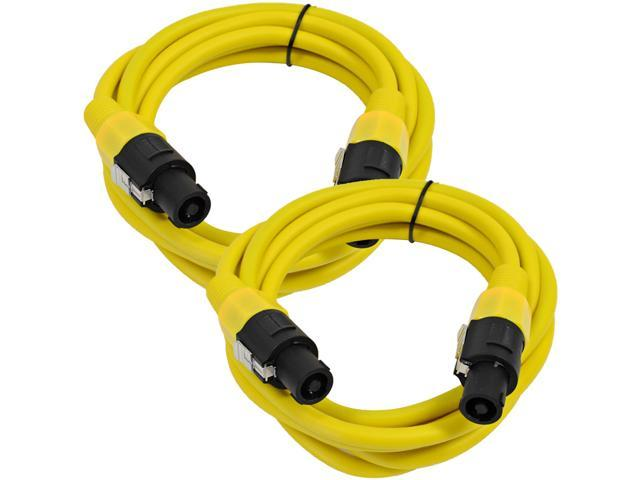 Seismic Audio - TW12S5Yellow-Pair - Pair of 12 Gauge 5 Foot Yellow Speakon to Speakon Professional Speaker Cables - 12AWG ...