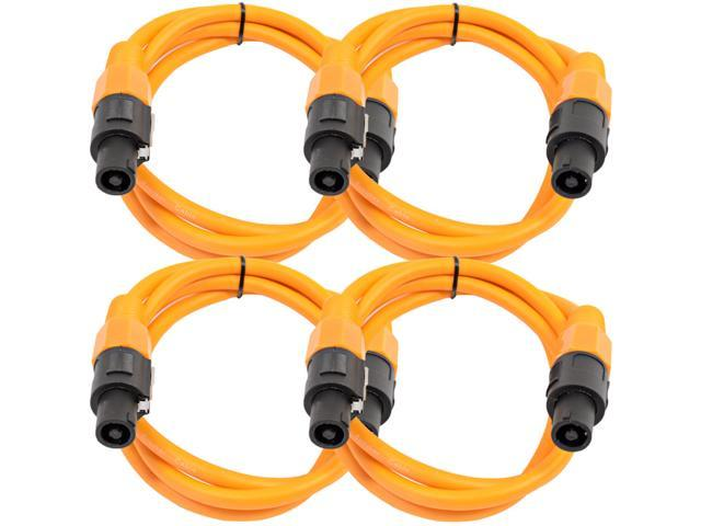 Seismic Audio - TW12S5Orange-4Pack - Four Pack of 12 Gauge 5 Foot Orange Speakon to Speakon Professional Speaker Cables - 12AWG 2 Conductor Speaker Cables