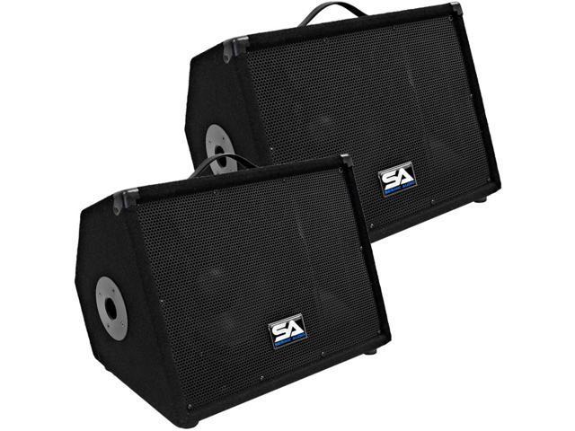 """Seismic Audio - SA-10M.3 Pair 10"""" Floor Monitors Speakers w/pole mount"""